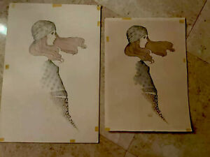 2 A Gruerio Vintage 60s Fashion Fashion Girl Lithograph Plus Watercolor Painting