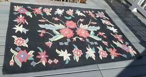 """Vintage /Antique Shabby Cottage Estate Hand-Woven Wool Rug 72"""" x 50"""" ~ FREE SHIP"""