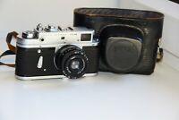 "ZORKI-4K Cyrillic Name Soviet Rangefinder Film Camera w/s lens ""Industar-50"" EXC"