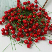 100x Mini Artificial Flower Red Berry-Holly Branch-Christmas-Wedding-Party Decor