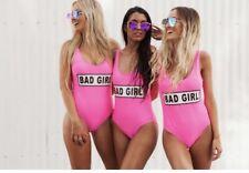 Bad Girl Swim Pink Swimsuit Sexy One Piece Small Baywatch Swimsuit Beach Bunny S