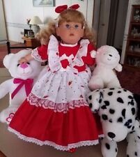 "PAT SECRIST/JOHANNES ZOOK 1989 SIGNED #157 22"" DOLL STRAWBERRIES AND LACE."