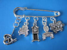 Miniature Furniture Brooch Dolls House Collector Gift Dollshouse Charms Pin