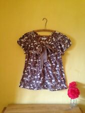 Topshop cotton silk size 10 grey brown floral vintage boho look shirt blouse top