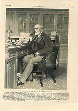Académicien Marquis de de Vogüé de l'Académie Française à Paris  GRAVURE 1902