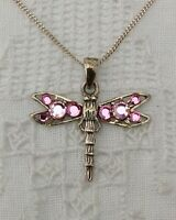 Sterling Silver Dragonfly Pendant Necklace 925 Sparkly Pink Insect Bug Jewellery