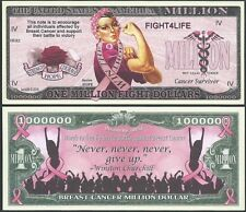 BREAST CANCER ONE MILLION FIGHT DOLLARS SUPPORT - Lot of 2 BILLS