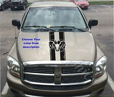 "Truck car vinyl decal, racing stripe sticker hood ""Dodge Ram"" logo (both sides)"