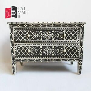 Bone Inlay sideboard Black and White Floral (MADE TO ORDER)