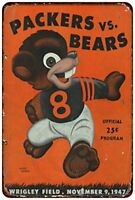 """1947 Green Bay Packers Vs Chicago Bears Rustic Retro Metal Sign 8"""" x 12"""""""