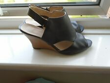 Black Wedge Open Toe Sandals Size 7/41 worn (small scuff on heel)