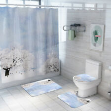 Snow Shower Curtain Bathroom Rug Set Bath Mat Skidproof Toilet Seat Lid Cover