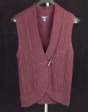 CHAPS SLEEVELESS CARDIGAN SWEATER WOMENS PM PETITE MEDIUM MAROON CABLE KNIT