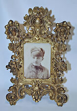 "Vintage Brass Table Picture 8.75""x 14"" Photo Frame Easel Stand Putti Cherub"