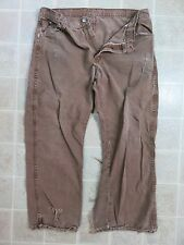 Damaged DICKIES Brown PANTS Mens 38x30 Cell Phone Pocket Work Wear Canvas Punk