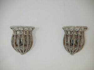 ~Maison Bagues Crystal & Amethyst Beaded Sconces c 1900~