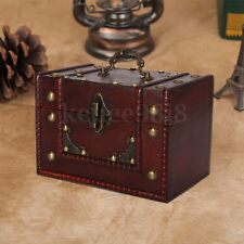 Vintage Large Wooden Lock Handle Jewellery Treasure Storage Box Chest Case