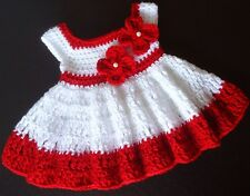 Crochet Dress Red and White Baby Girl 0-3 Months Infant Baby Dress Handmade