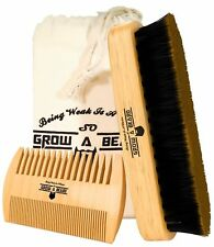 Grow a Beard Boar Bristle Brush Bamboo & Dual Action Comb Set for Men.