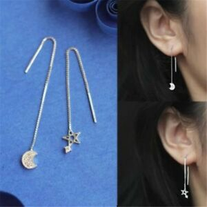 925 Sterling Silver Thread Threader Earrings Star Crescent Moon Bar Long Chain
