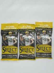 2020 Panini Select NFL Fat Pack 15 Cards, 1 Silver Prizm Lot Of 3 Factory Sealed