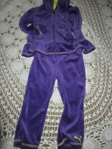 NWT Puma purple velour hoodie pant set baby girls 24 m free ship USA