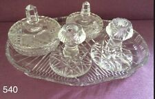 Stunning Cut Glass Dressing Table Set. Candlesticks, trinket pots and tray • 540