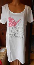 chemise de nuit blanc/argenté papillon rose - taille 2 = 38/40 - neuf