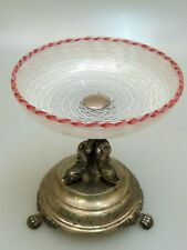 SILBER GLAS AUFSATZSCHALE ST. LOUIS UM 1850 LATTICINO DEKOR SILVER GLASS BOWL