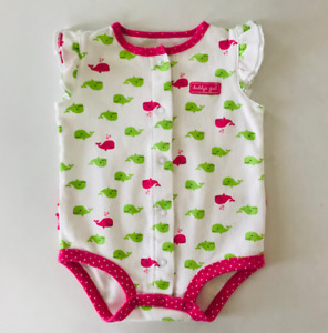 Carter's Baby Girl 6 Months Whale Snap Up Bodysuit Ruffled White Daddy's Girl