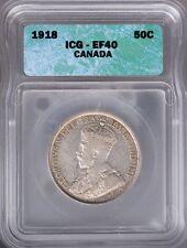 1918 Canada Silver 50 Cents ICG EF40