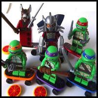 TARTARUGHE NINJA TURTLES MINIFUGURE COMPATIBILI LEGO SET LOTTO 6 MINIFIGURES NEW