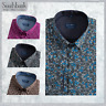 New Men's Floral Shirt Printed Slim Premier Cotton Vintage Liberty Black Ice