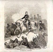 Stampa antica Maresciallo CANROBERT a cavallo Dorè 1859