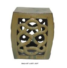 Cream Yellow Ceramic Clay Twist Knot Square Stool Ottoman vs654-1