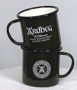 2 Ardbeg The Ultimate Islay Single Malt Scotch Whisky Metal Coffee Mugs 12 oz
