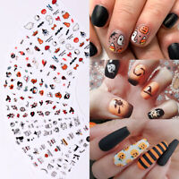 3D Nagel Aufkleber Abziehbilder Halloween Nail Art Decals Transfer Stickers