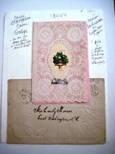 1840 Elaborate Antique Valentine Card w/ Real Silk & Gorgeous Paper Lace *