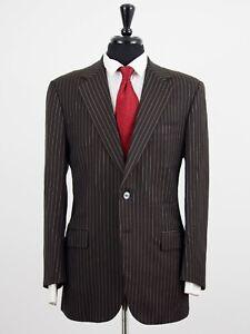 Belvest Italy Brown Pinstripe 2-Btn 2pc Dual Vent 120's Wool Suit 42R 35W