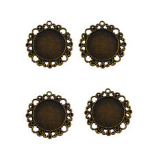10pcs Antique Bronze Alloy Round Cameo Setting Tray Pendants Charms Crafts 31390