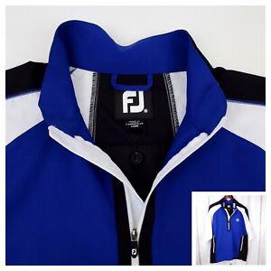 Footjoy Golf Pullover Windbreaker 1/4 Zip Short Sleeve Medium Nylon Blue & White