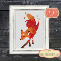 Fox Watercolor - Cross stitch Embroidery - PDF Pattern - Nursery Art Decor- 027