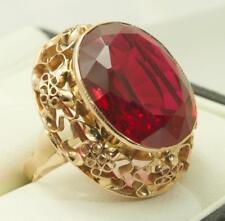 Lovely 14carat 14k Rose Gold Synthetic Ruby Ring UK size Q 1/2 - US size 8 1/4