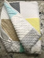 Circo Minky Dots Patchwork Baby Blanket Gray Blue Yellow Green Tan Squares #36