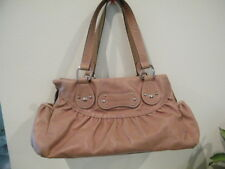 LONG CHAMP LIGHT TAN LEATHER SLOUCH SATCHEL LOGO PURSE LOTS SECTIONAL POCKETS