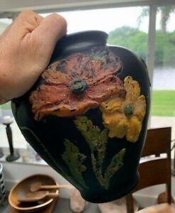 Antique TIFFIN VASE, Black Amethyst Satin Glass, Poppy Raised Flowers, 1930's