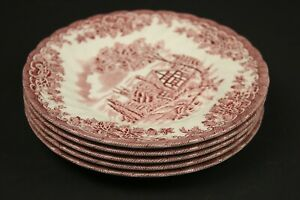 Churchill The Brook Pink 5 Side Plates Bread Plates 17cm in Diameter