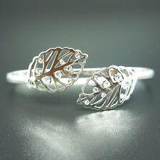14k white Gold plated leaf filigree bangle bracelet with Swarovski crystals