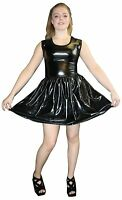 METALLIC SHINY PVC BLACK GREASE WETLOOK ROCKABILLY SWING SLEEVELESS DRESS RAVE
