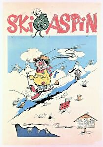 """SKI ASPIN"" (1968) COMIC CARTOON POSTER Rockies Skiing *ASPEN, COLORADO* Vintage"